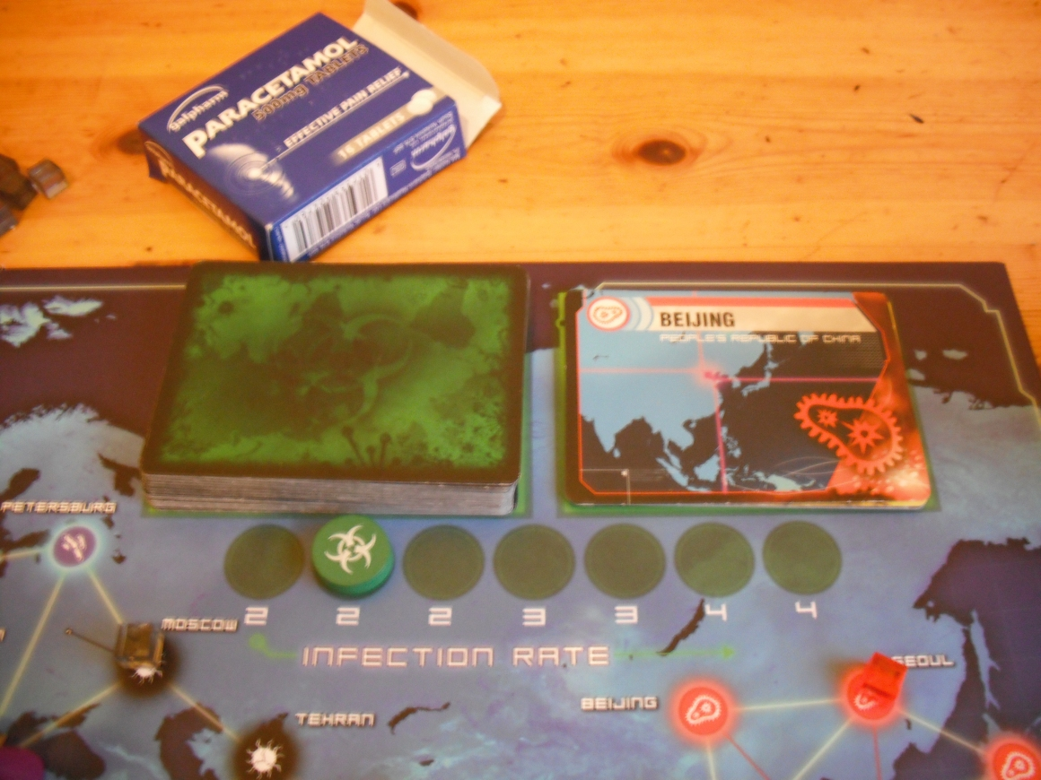The Infection Deck. Never has flipping over green cardboard been so tense.