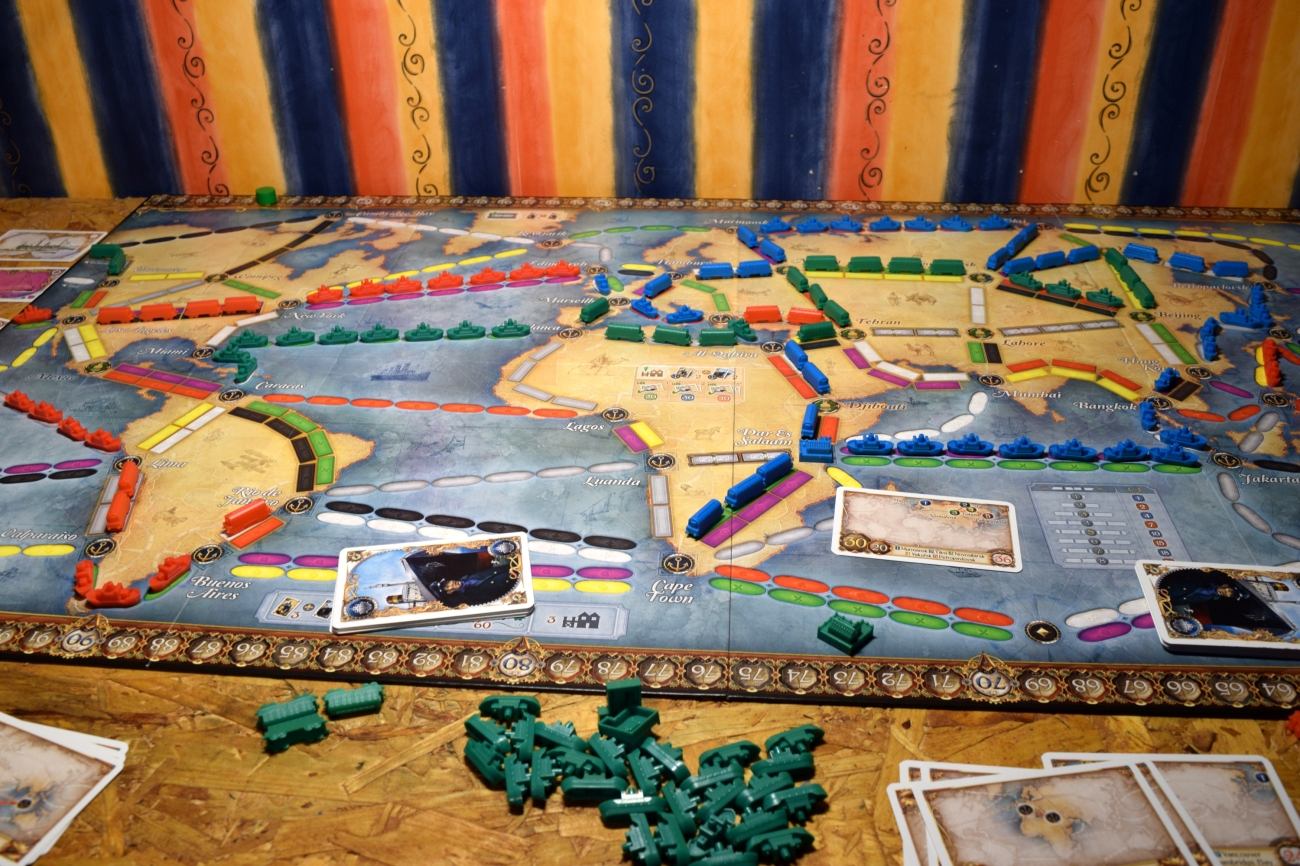 A game of Ticket to Ride: Rails & Sails in action.