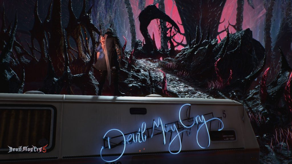 Devil May Cry 5 - Nero stands atop the Devil May Cry van