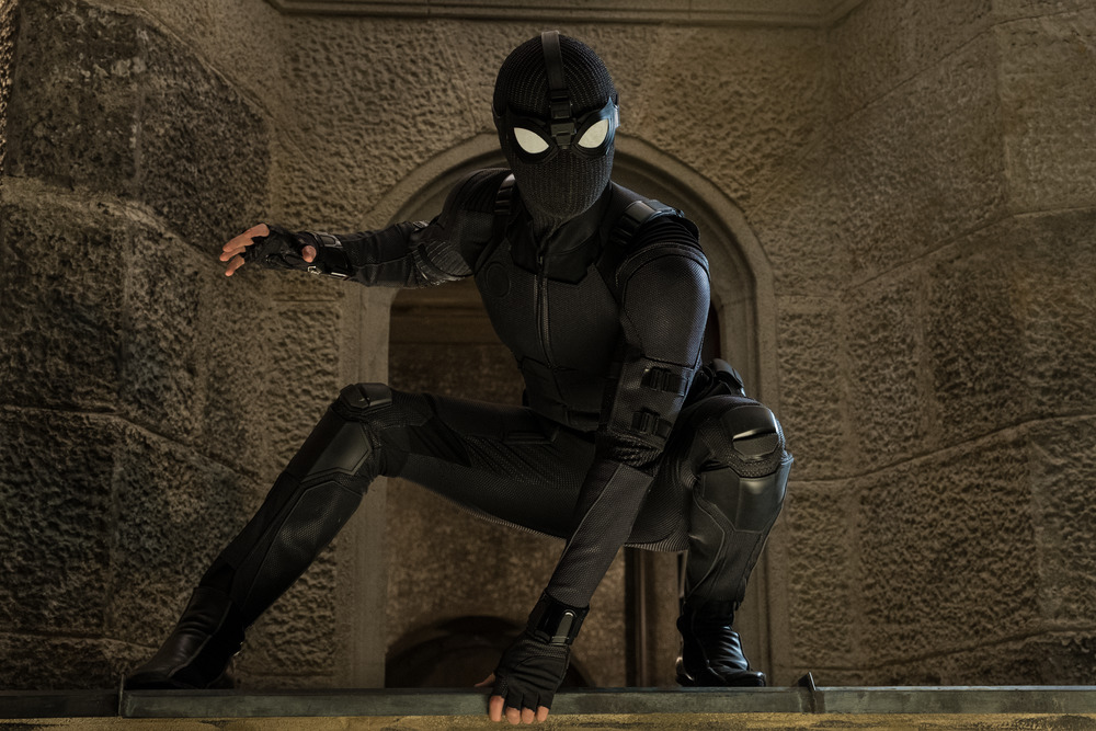 Spider-Man sporting his new black suit in Spider-Man: Far From Home